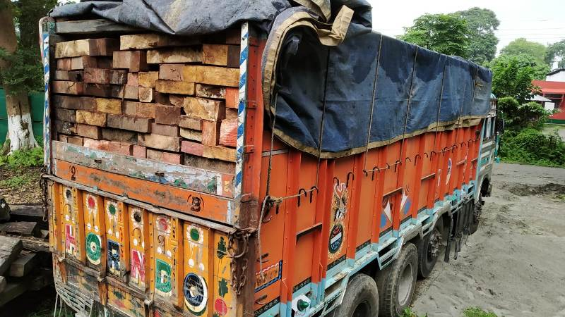 Sand and timber-laden two trucks seized in Jorhat