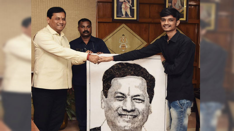 Dhubri Youth makes CM Sonowals Portrait using Computer Motherboard