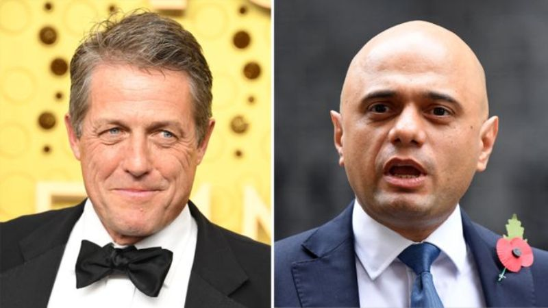 Hugh Grant gets into handshake row with Sajid Javid