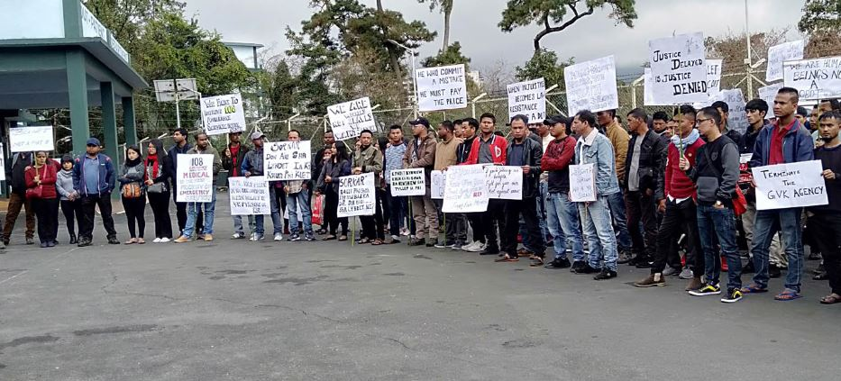 Meghalaya EMRI workers protest outside GVK office, meets Health Minister