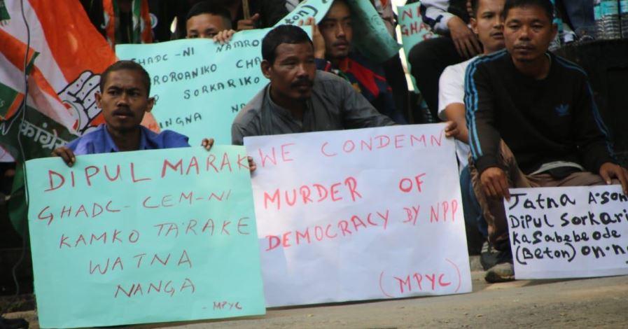 MPYC stages protest against Garo Hills Council CEM Dipul Marak