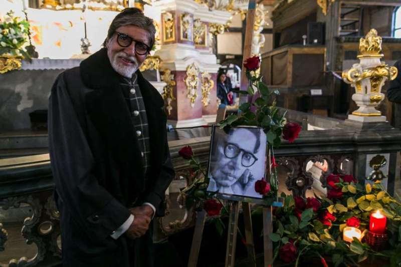Big B Amitabh Bachchan prays at one of Europe's oldest church