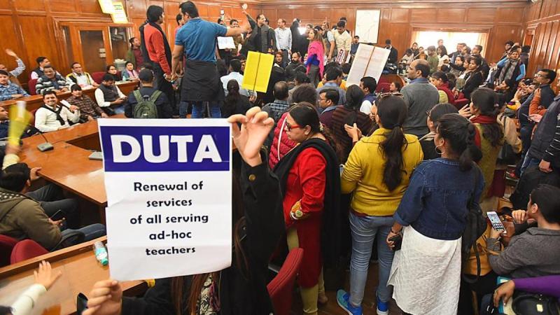 Delhi University ad-hoc teachers hold march to demand absorption