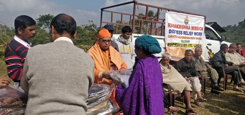 Ramakrishna Mission organized relief camp and distributed clothes among poor in Haflong