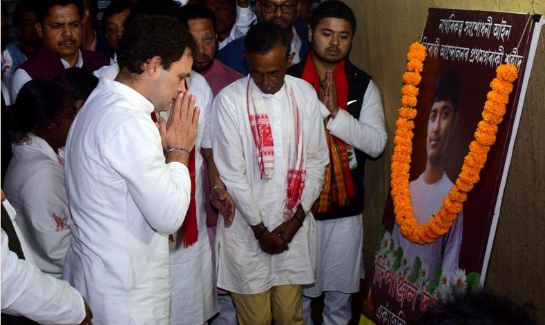 Congress leader Rahul Gandhi meets martyr Dipanjal Das' family