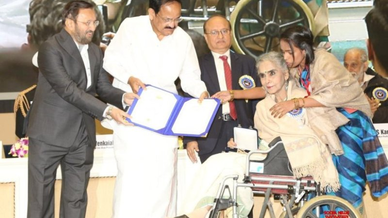Surekha Sikri accepts National Film Award in wheelchair