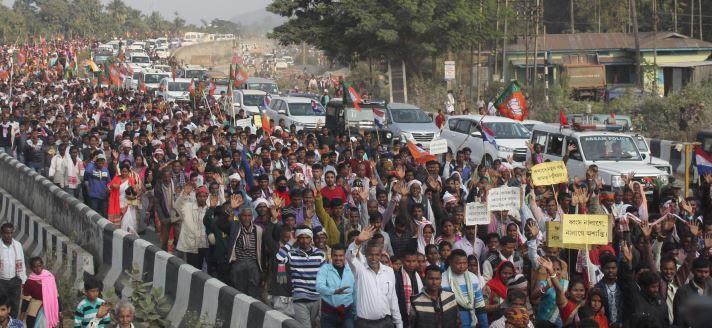 Bharatiya Janata Party organized peace rally at Jagiroad