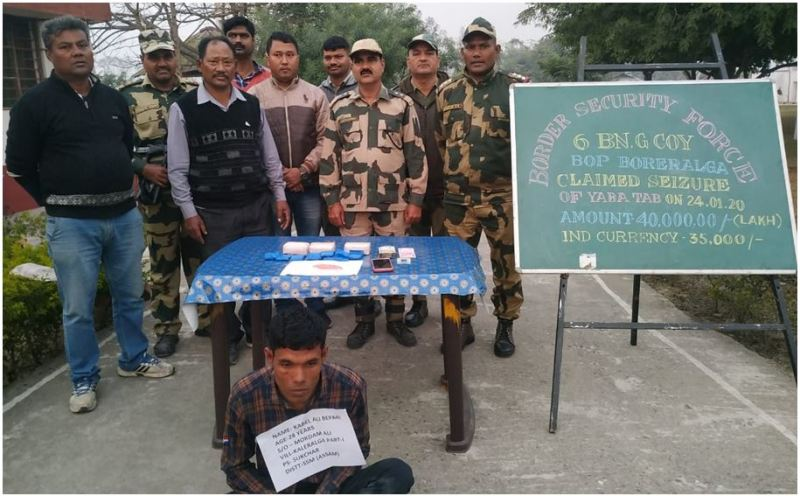 BSF apprehended Indian National along with 8000 nos yaba tablets from South Salmara