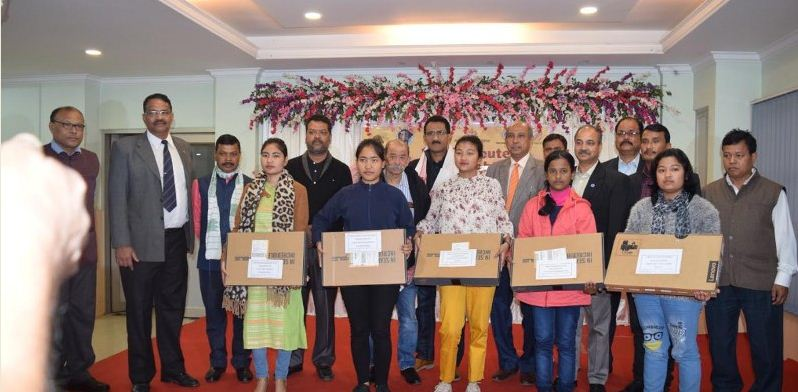 Daughters of Assam martyrs receive laptops donatedby Atharva Foundation of Mumbai
