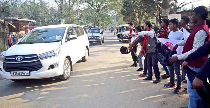 Black flags were shown to Guwahati MP Queen Oja in Boko
