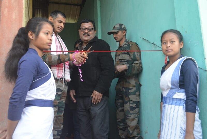 Red Horns Division Army constructs toilet block at Baksa school