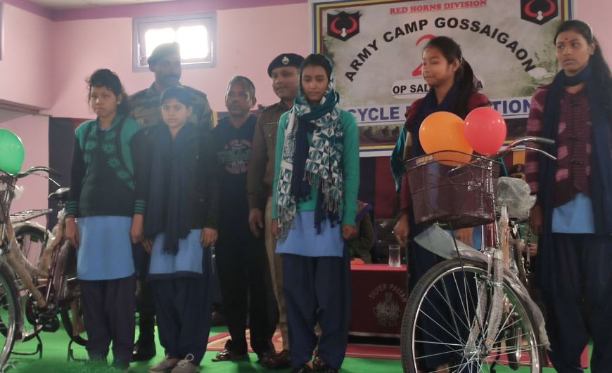 Red Horns Division Army hands over bicycles to girl students in Gossaigaon