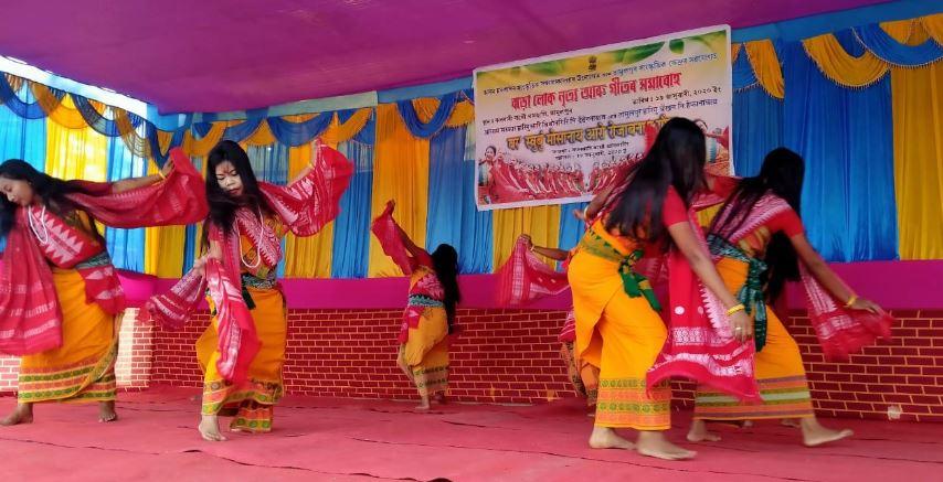 Bodo folk song and dance festival held in Kalbari Bathou Temple, Tamulpur