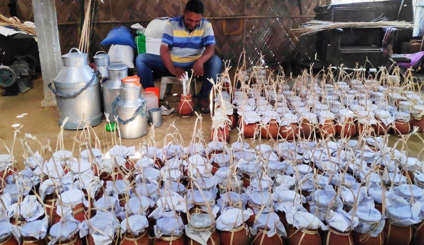 Curd prepared for Magh Bihu in Demow