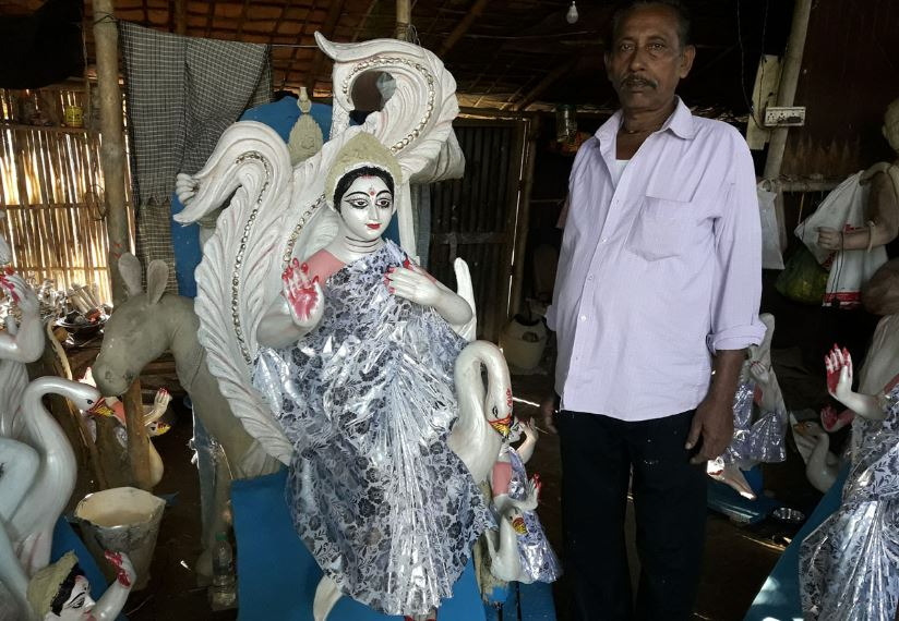 Less orders for Saraswati idols this year in Demow