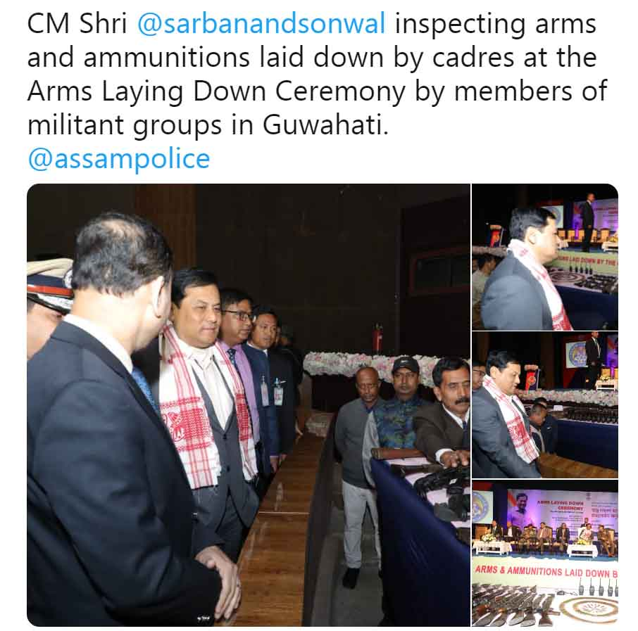 644 cadres from eight insurgent groups from northeast India surrender in Assam