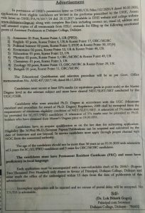 Duliajan College Recruitment 2020