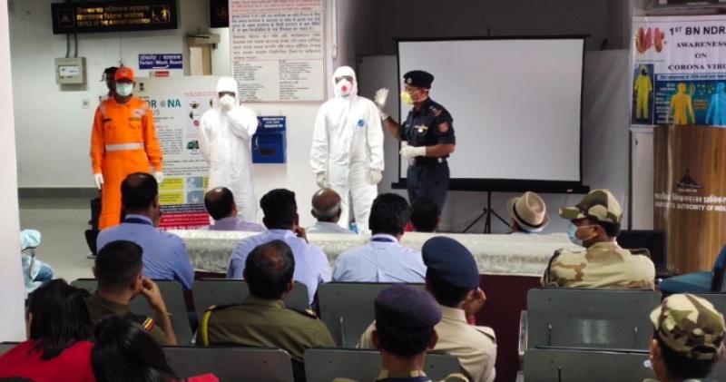 NDRF organizes awareness programmeon coronavirus at Silchar Airport