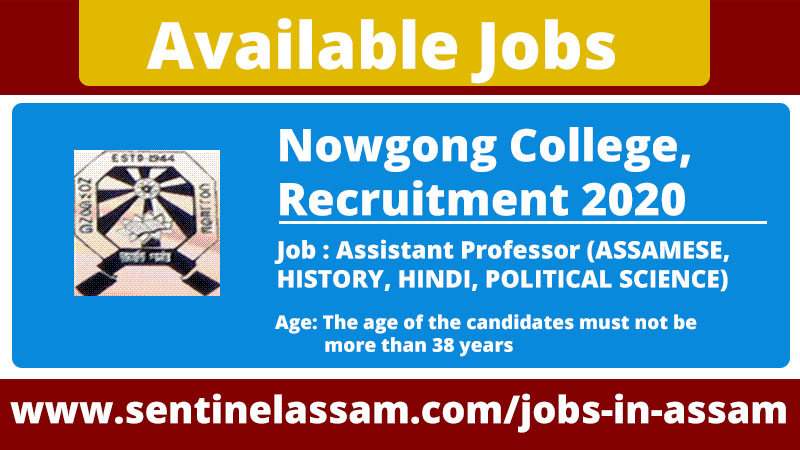 Nowgong College, Recruitment 2020 for Assistant Professor