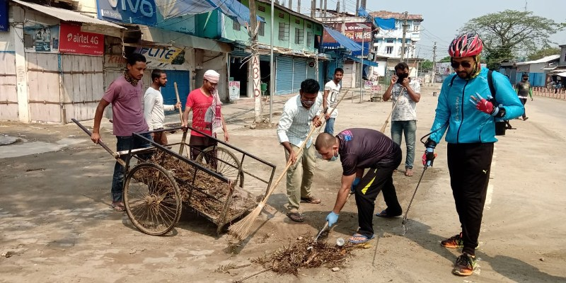 Sanitization programme by a group of youths initiated in Dhakuakhana