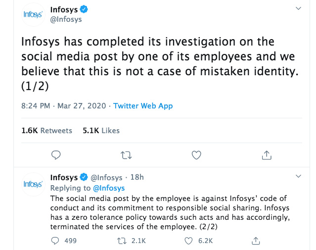 Infosys fires techie who asked people to sneeze and spread coronavirus
