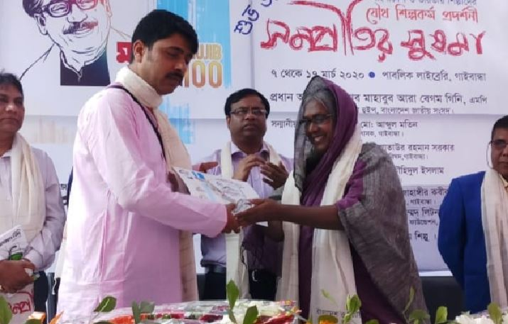 Painter Tarun Mitra from Dhubri showcases his work in Bangladesh
