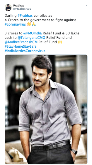 Bahubali actor Prabhas donates Rs 4 cr to fight against COVID-19 pandemic