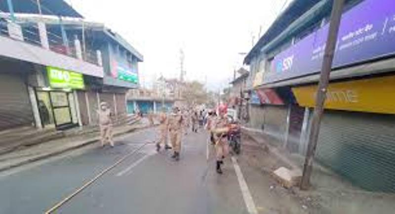 Dima Hasao Fire and Emergency Services sanitized Haflong market area