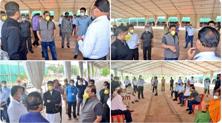 Himanta Biswa & officials visit under-construction 1000-bed quarantine centre at Kokrajhar
