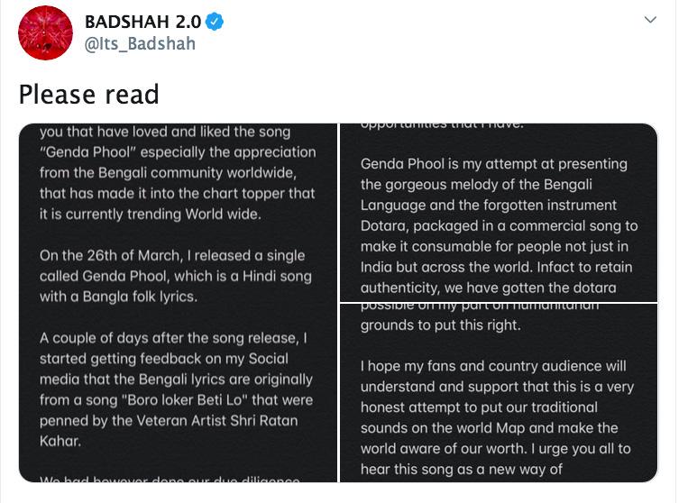 BADSHAH in plagiarism row; Genda Phool song's lyrics were stolen from Bengali folk artist