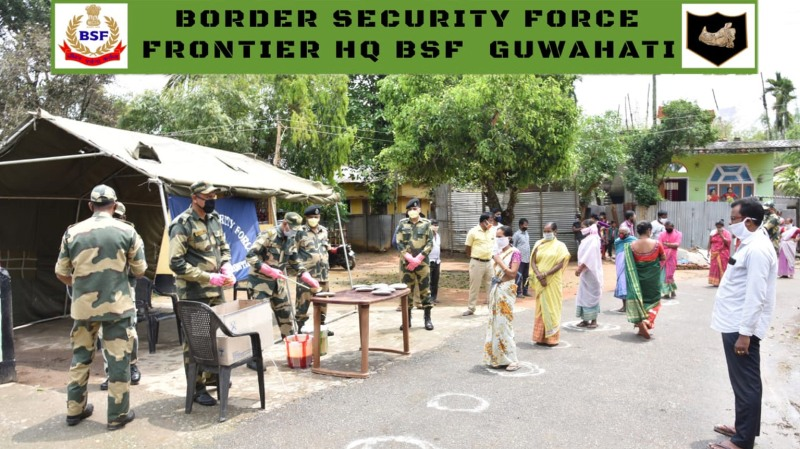 BSF Guwahati Frontier distributes food items to needy villagers on the border belt