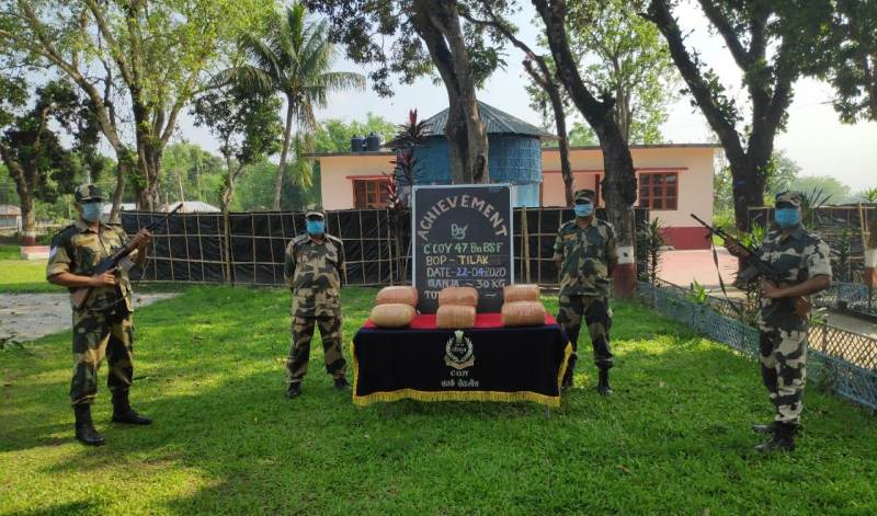 Border Security Force (BSF) under Guwahati Frontier seizes 30kg ganja at Rajarbari village