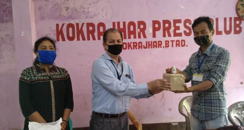 NTPC distributes masks and sanitizers at Kokrajhar Press Club