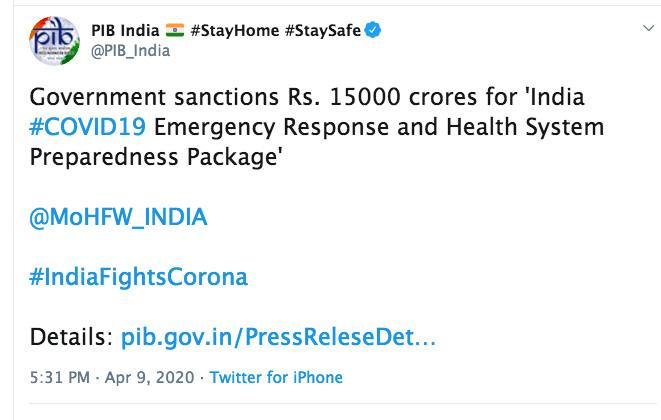 Govt. sanctions Rs 15,000 cr package to bolster Indias coronavirus fight