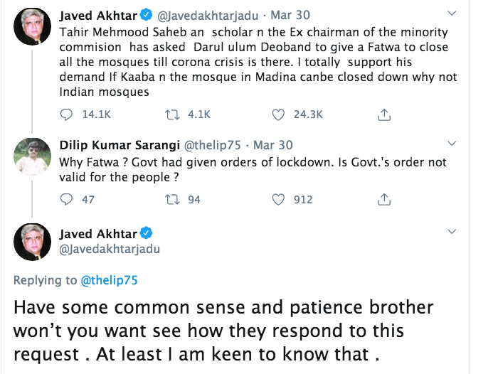 Lyricist Javed Akhtar supports fatwa to close all mosques until corona crisis is over