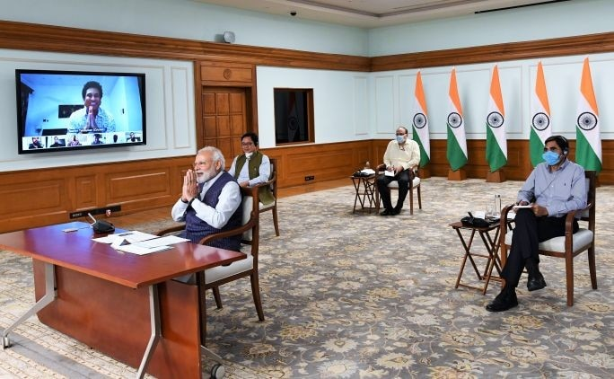 PM Modi interacted with eminent sportspersons such as Hima Das via video conference